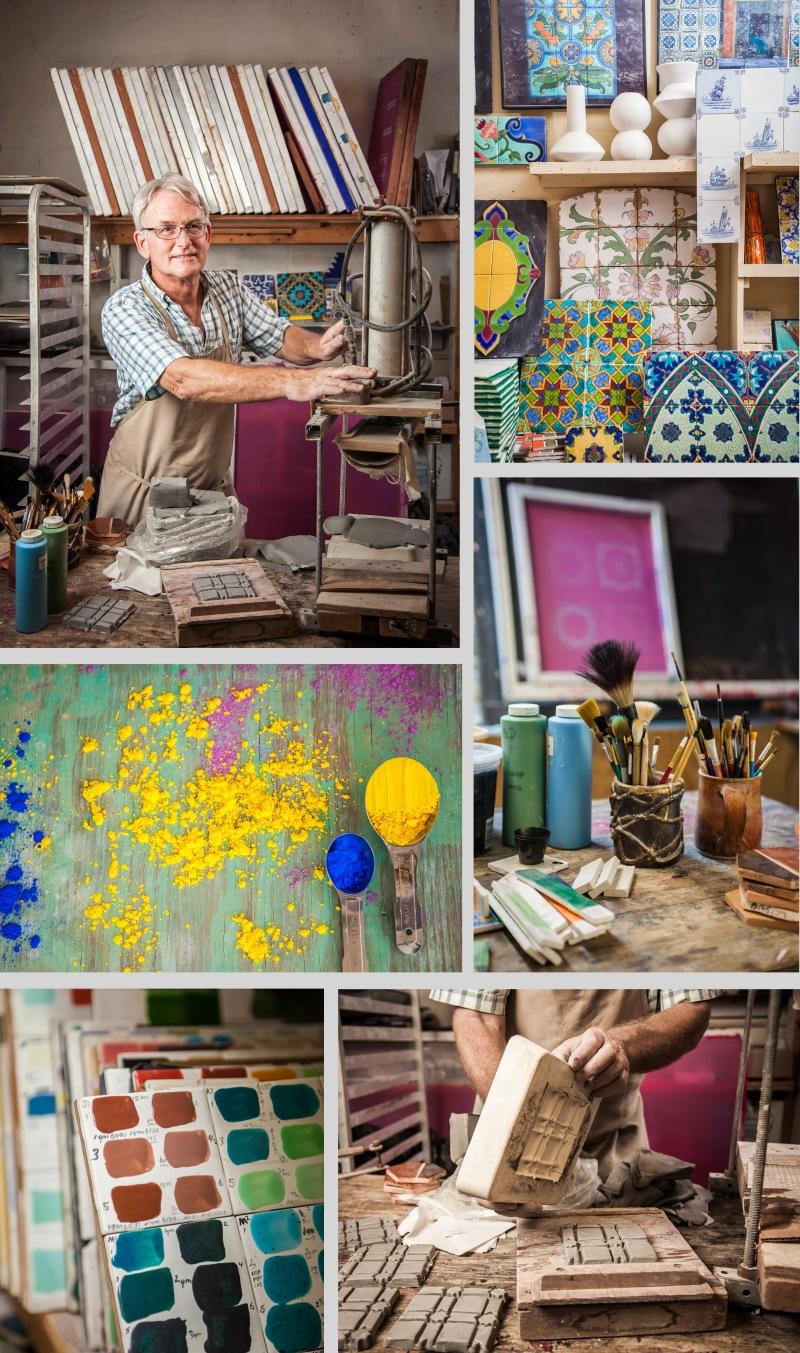 portrait of Dan Droney ceramics studio materials in West Palm Beach, Florida