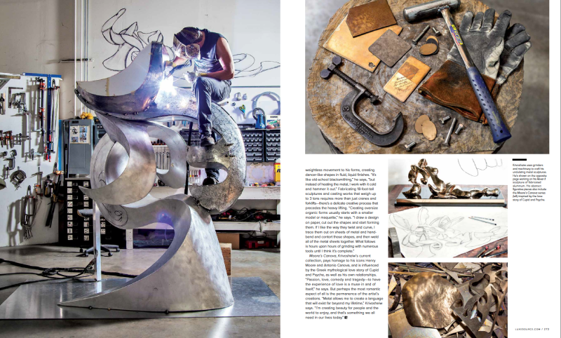 portrait-of-artist-Alexander Krivoshiew-working-on-large-scale-metal-sculpture-in-studio