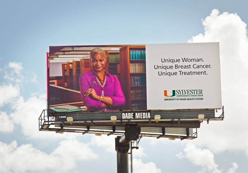advertising portrait photography of professor billboard ad for sylvester cancer center