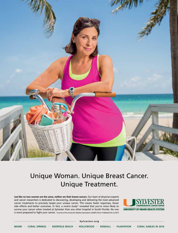 portrait of female bicyclist at Hollywood beach advertising photography for sylvester cancer center