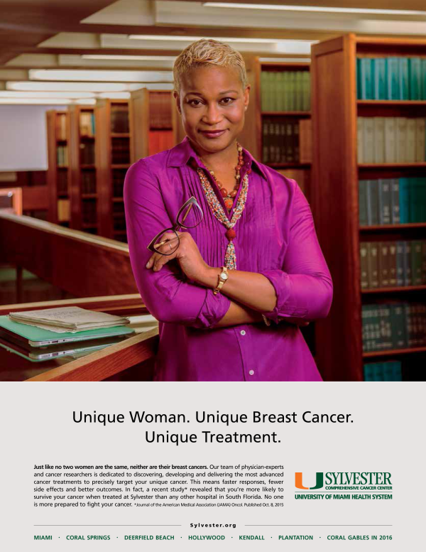 portrait of female afro-cuban professor in library advertising photography for sylvester cancer center