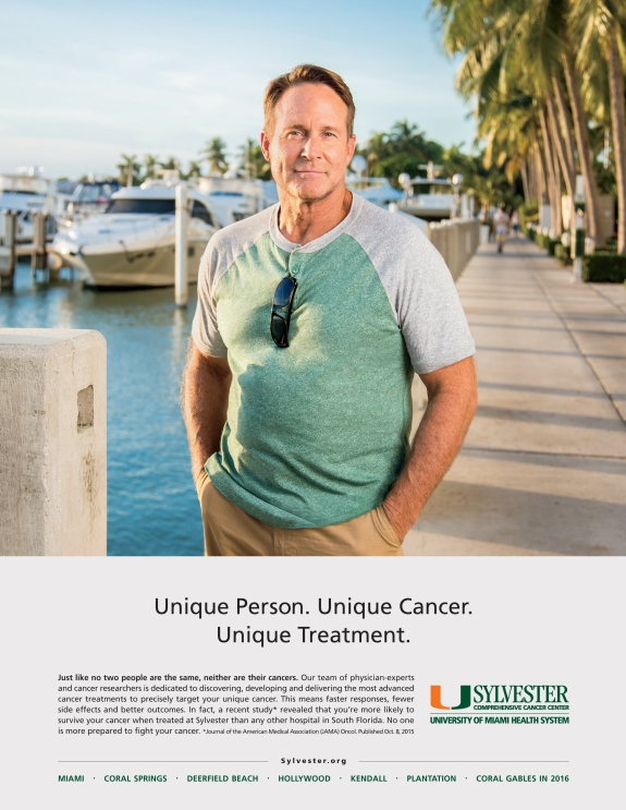 advertising campaign photography for Sylvester Cancer center, featuring portrait of boater at Miami marina