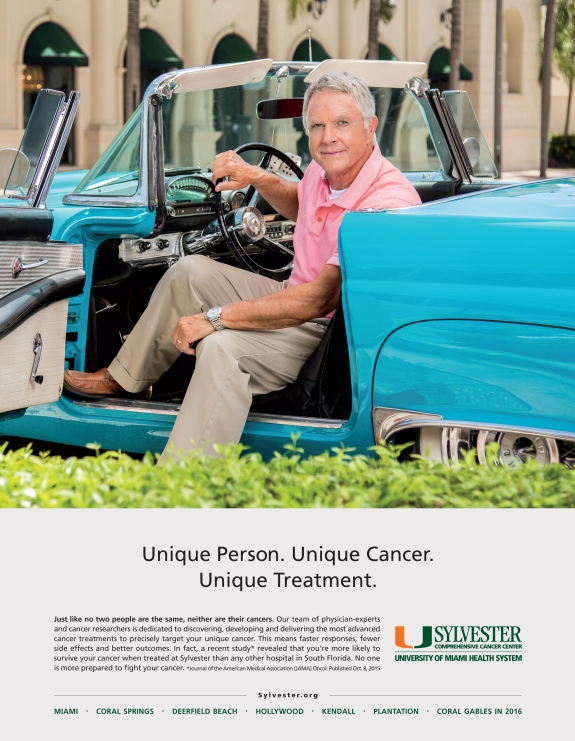 advertising campaign photography for sylvester cancer center, portrait of car collector seated in vintage blue car