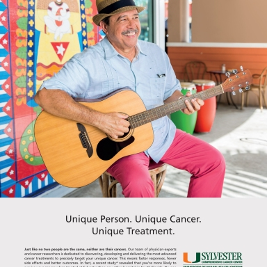 advertising photography for Sylvester Cancer Center featuring portrait of musician with guitar in little havana, fl