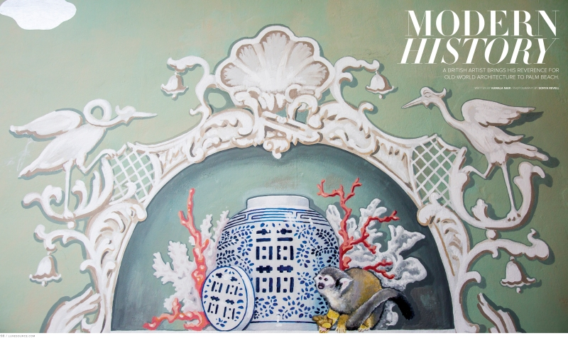 photograph of chinoiserie mural by aldous bertram