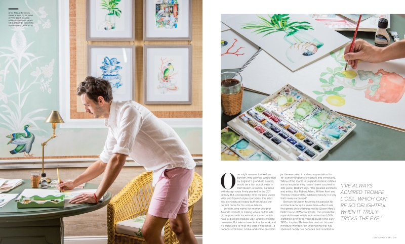 magazine spread portrait photography of artist aldous bertram with water-color painting