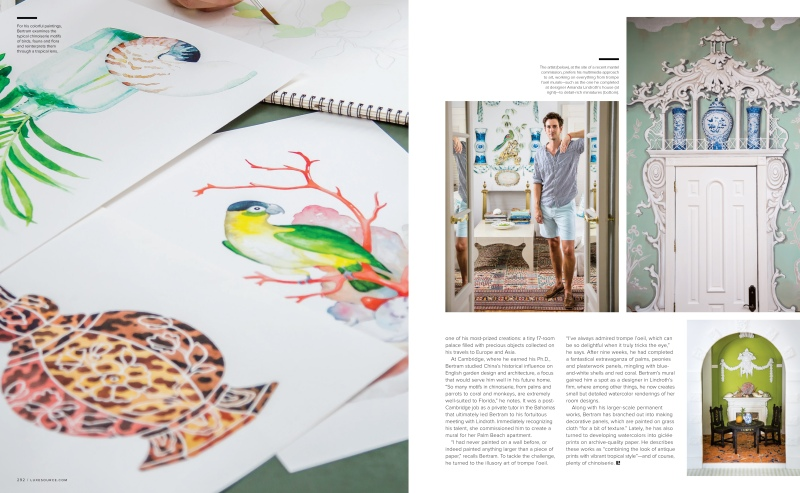 magazine spread of watercolor painting, mural and portrait of aldous bertram