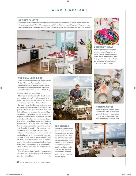 wine spectator magazine spread of naeem khan's home in miami