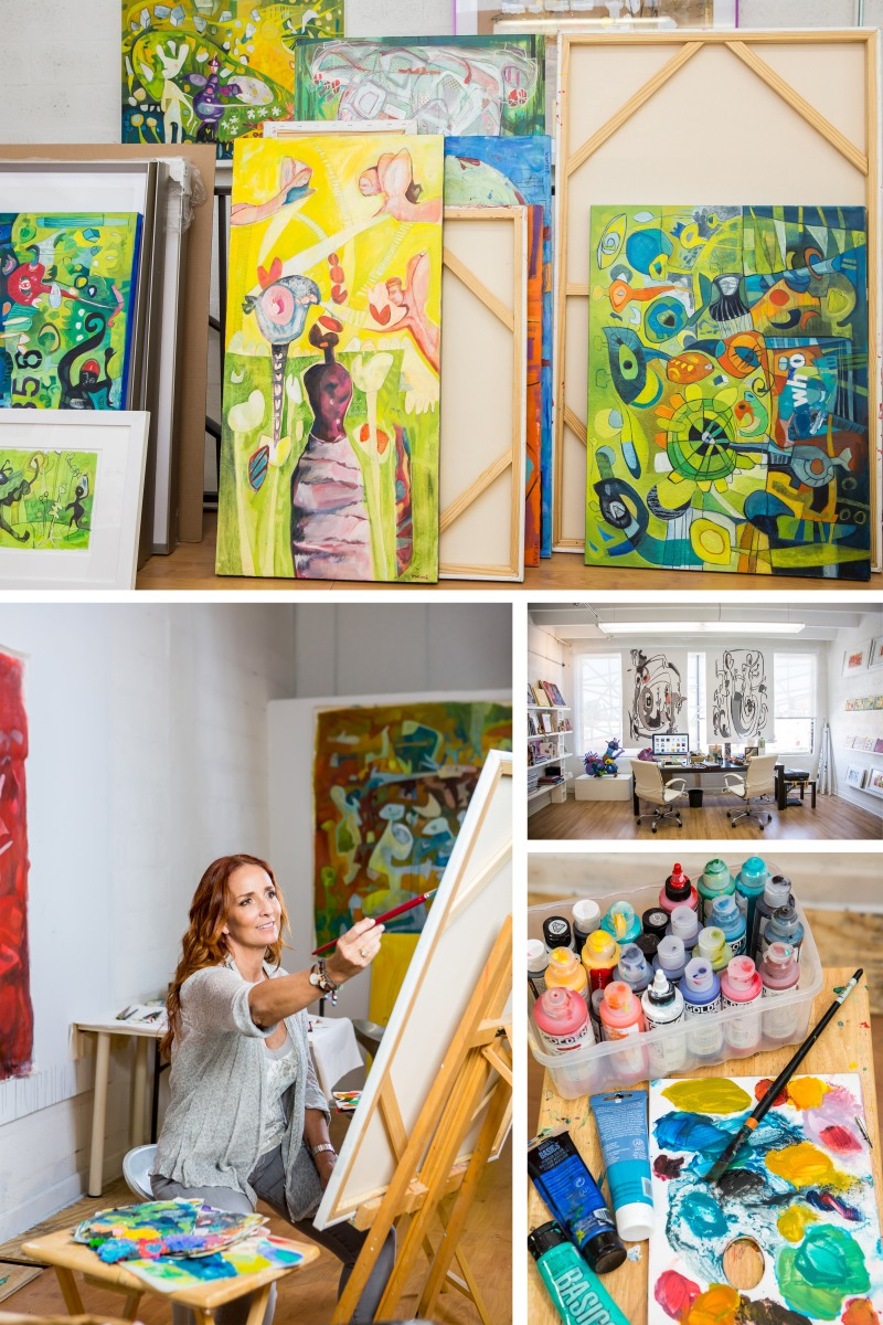 photography of painter Isabel Brinck and her paintings in her studio