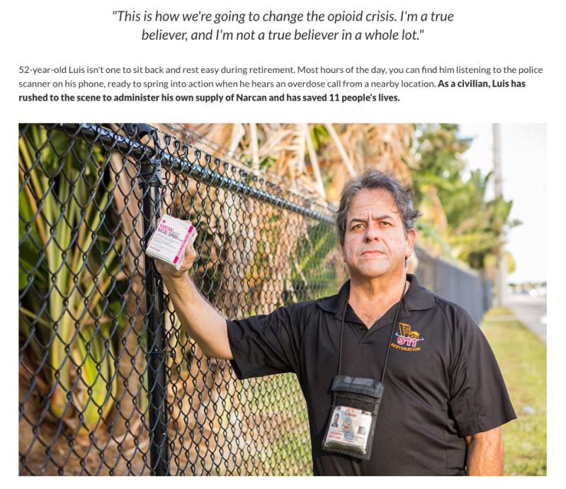portrait of GoFundMe Hero Luis Garcia holding Narcan nasal spray