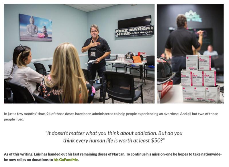 Photography of GoFundMe hero Luis Garcia teaching class about Narcan