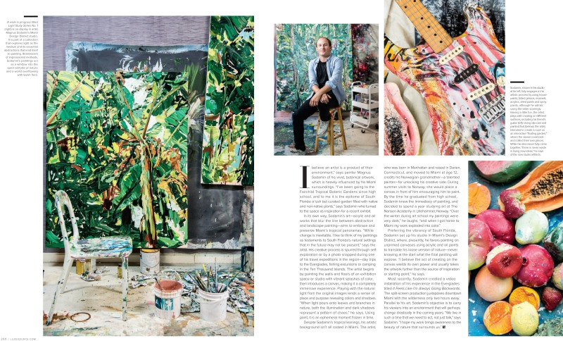 Luxe magazine spread showcasing artist, Magnus Sodamin's art studio and artwork