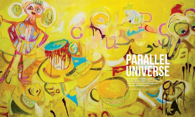 Luxe Interiors + Design spread featuring the art work of Miami artist, Isabel Brinck.