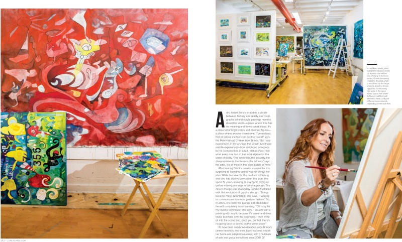 Luxe Interiors + Design spread featuring the artwork of Miami artist, Isabel Brinck.