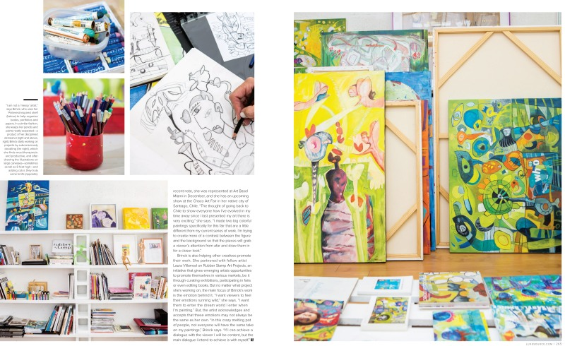 Luxe Interiors + Design magazine spread featuring the artwork and materials of Miami artist, Isabel Brinck.