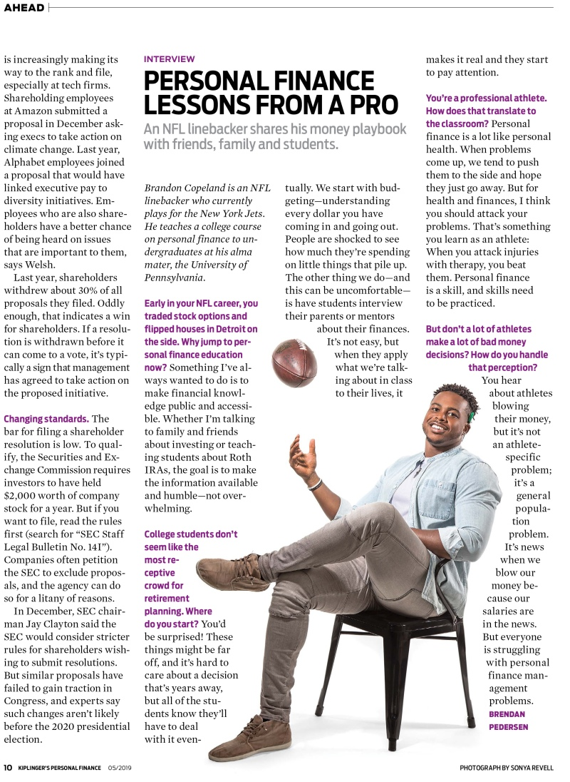 portrait photography of NFL player, Brandon Copeland, with interview for Kiplinger's magazine