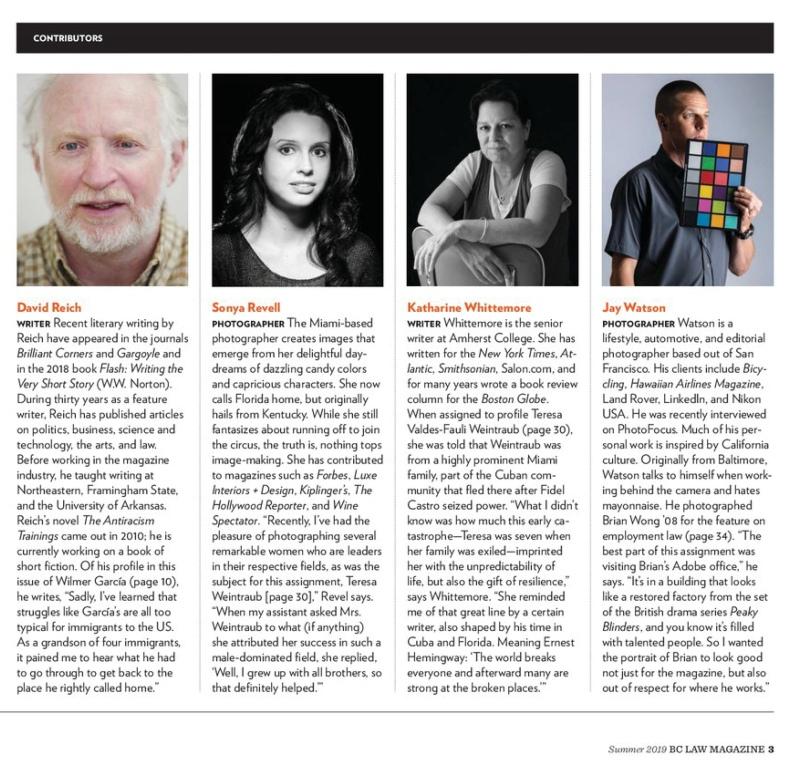 contributors page from Boston College Law magazine