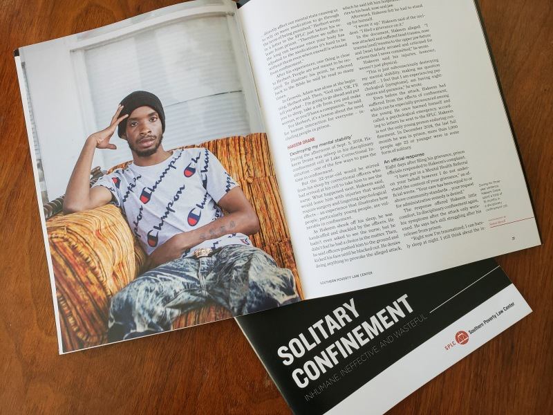 portrait photography of Hakeem Drane in SPLC Solitary Confinement report