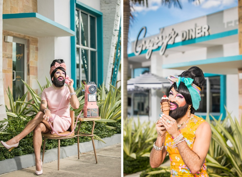 conceptual portrait photography of bearded drag queen talking on phone and eating icecream outside diner