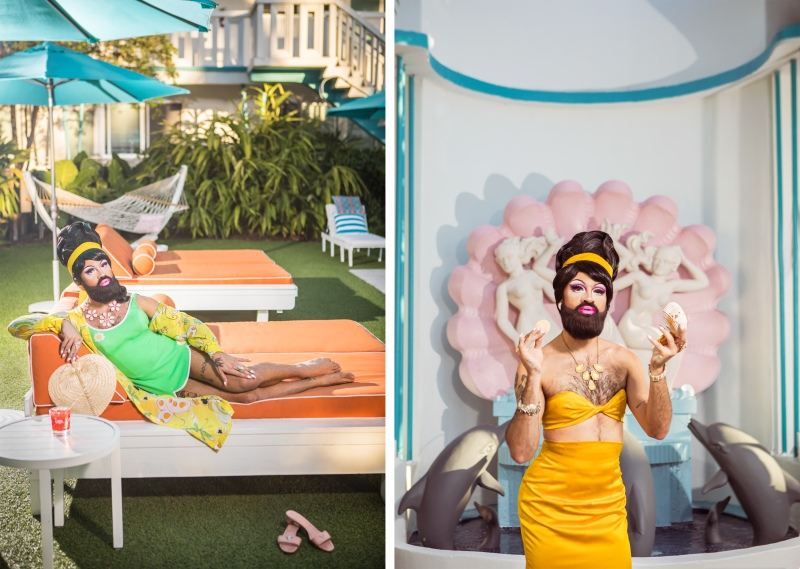 portrait photography of bearded drag queen, queef latina, sitting on a lounge chair wearing a green bathing suit and in front of a fountain