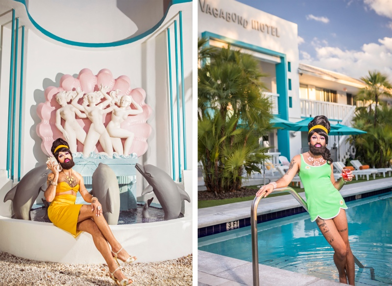 portrait photography of bearded drag queen, queef latina, in pool and sitting next to fountain