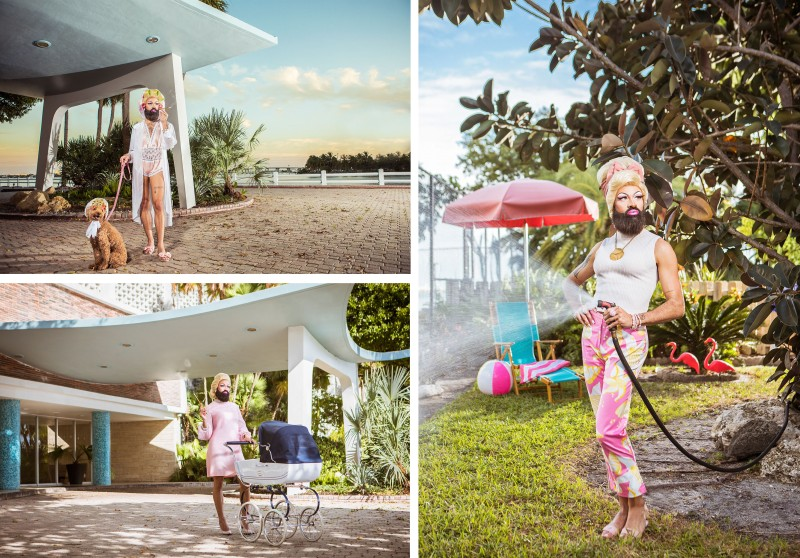 photography of bearded drag housewife set outside 1960s era miami mid-century building